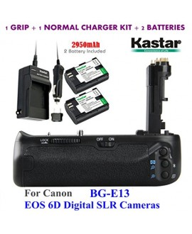 Kastar Pro Multi-Power Vertical Battery Grip (Replacement for BG-E13) + 2x LP-E6 Replacement Batteries + Charger Kit for Canon EOS 6D Digital SLR Cameras