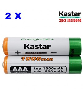 Kastar AAA (2-Pack) Ni-MH 1000mAh Super High-Capacity Rechargeable Batteries Pre-charged