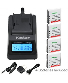 Kastar Ultra Fast Charger(3X faster) Kit and CNP-40 Battery (4-Pack) for Kodak LB-060 AZ521 AZ361 AZ501 AZ522 AZ362 AZ526 and HP D3500 SKL-60 V5060H V5061U Cameras