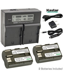Kastar LCD Dual Fast Charger + 2 x Battery for Canon BP-511, BP-511A, BP511, BP511A & EOS 5D, 10D, 20D, 30D, 40D, 50D, Digital Rebel 1D, D60, 300D, D30, Kiss Powershot G5, Pro 1, G2, G3, G6, G1, Pro90