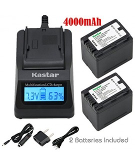 Kastar Ultra Fast Charger(3X faster) Kit and Battery (2-Pack) for Panasonic VW-VBK360 work with Panasonic HC-V10, HC-V100, HC-V100M, HC-V500, HC-V500M, HC-V700, HC-V700M, HDC-HS60, HDC-HS80, HDC-SD40, HDC-SD60, HDC-SD80, HDC-SD90, HDC-SDX1H, HDC-TM40, HDC