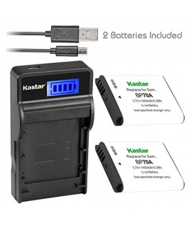 Kastar Battery (X2) & SLIM LCD Charger for Samsung BP-70A, BP70A, EA-BP70A and ES65 ES67 ES70 ES71 ES73 ES74 PL80 PL81 PL100 PL101 SL50 SL600 SL605 SL630 ST60 ST61 ST70 ST71 TL105 TL110 TL205