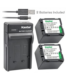 Kastar Battery (X2) & Slim USB Charger for Panasonic CGA-DU14 and NV-GS40 GS44 GS47 GS50 GS55 GS58 PV-GS150 GS200 GS300 GS320 GS400 GS500 SDR-H250 H280 VDR-D258 D300 D308 D310 D400 M74 M75 M95 M250