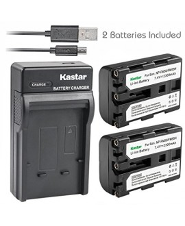 Kastar Battery (X2) & Slim USB Charger for Sony NP-FM50 NP-FM55H & HC1 TRV280 TRV350 TRV250 TRV19 TRV22 TRV27 TRV33 TRV460 TRV140 TRV17 TRV340 TRV38 TRV480 TRV260 TRV138 TRV608 DVD101 DVD201 D1000