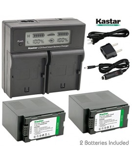 Kastar LCD Dual Fast Charger + 2 x Battery for Panasonic CGR-D54S CGA-D54S & AG-3DA1 AG-DVC30 AG-DVC32 AG-DVC33 AG-DVC60NV-DS29 NV-DS30 NV-DS50 NV-GX7 NV-MX5 NV-MX350 NV-MX500 NV-MX1000 AG-HRX200