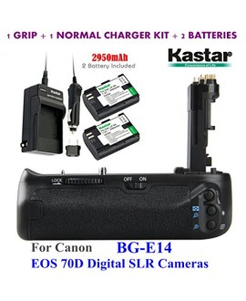 Kastar Pro Multi-Power Vertical Battery Grip (Replacement for BG-E14) + 2x LP-E6 Replacement Batteries + Charger Kit for Canon EOS 70D Digital SLR Cameras