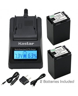 Kastar Fast Charger + BP-827 Battery 2X for Canon VIXIA HF10 HF11 HF20 HF21 HF100 HF200 HF G10 HF M30 M31 M32 HF M40 M41 HF M300 HF M400 HF S10 HF S11 HF S20 HF S21 S30 S100 S200 HG20 HG21 HG30 XA10