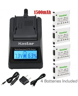 Kastar Ultra Fast Charger(3X faster) Kit and Battery (4-Pack) for Canon NB-11L, CB-2LD, CB-2LF work with Canon PowerShot A2300 IS, A2400 IS, A2500, A2600, A3400 IS, A3500 IS, A4000 IS, ELPH 110 HS, ELPH 115 HS, ELPH 130 HS, ELPH 135 HS, ELPH 140 HS, ELPH