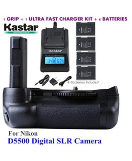 Kastar Pro Multi-Power Vertical Battery Grip + 4x EN-EL14 EN-EL4a Replacement Batteries + Ultra Fast Charger Kit for Nikon D5500 Digital SLR Camera