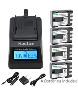 Kastar Ultra Fast Charger(3X faster) Kit and NB-2L Battery (4-Pack) for Canon NB-2L NB-2LH NB-2L12 NB-2L14 NB-2L24 BP-2L5 BP-2LH and Canon EOS Digital Rebel XT Xti Cameras