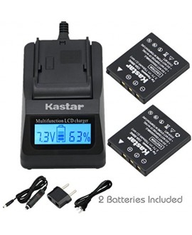 Kastar Ultra Fast Charger(3X faster) Kit and Battery (2-Pack) for Panasonic CGA-S004, CGA-S004A, CGA-S004E, CGR-S001B, DMW-BCB7, Fujifilm NP-40, NP-40N, Kodak KLIC-7005, Samsung SLB-0737, SLB-0837, Sanyo NP-40, UF55346, Pentax D-Li8, Benq Dli-102, Konica