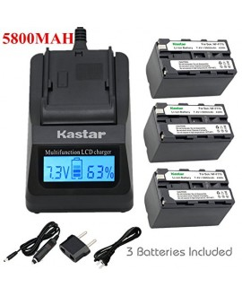 Kastar Ultra Fast Charger(3X faster) Kit and Battery (3-Pack) for Sony NP-F770, NP-F750, NP-F730 work with Sony CCD-SC5, DCR-TRV820, CCD-SC55, DCR-TRV820K, CCD-SC65, CCD-TRV815, DCR-TRV9, CCD-TR3, DCR-TRV900, CCD-TR3000, CCD-TRV85, DCR-VX200, CCD-TR3300,