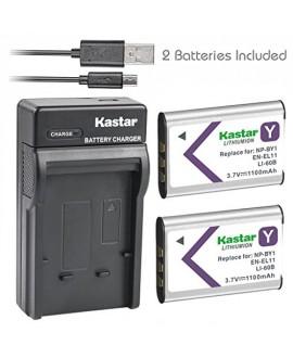 Kastar Battery (X2) & Ultra Slim Charger for NP-BY1 EN-EL11 LI-60B DLI-78 DB-L70 DB-80 and Sony Action Cam Mini HDR-AZ1 Nikon Coolpix S550 S560 Olympus FE-370 Pentax Optio L50 M50 M60 S1 V20 W60 W80