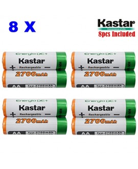 Kastar AA (8-Pack) Ni-MH 2700mAh Super High-Capacity Rechargeable Batteries Pre-charged