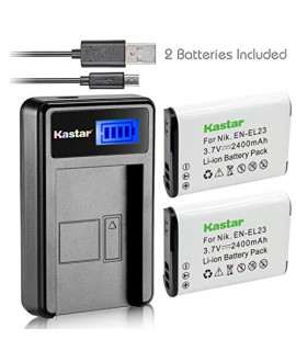 Kastar Battery (X2) & LCD Slim USB Charger for Nikon EN-EL23, ENEL23 MH-67 and Nikon Coolpix P600, P610 S810c, P900 Digital Cameras