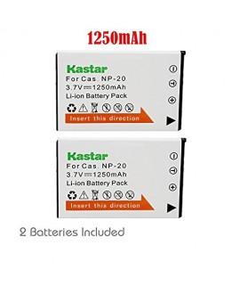Kastar 2x Battery for Casio NP-20 & Exilim EX-M1 EX-M2 EX-M20 EX-S1 EX-S2 EX-S3 EX-S20 EX-S100 EX-S500 EX-S600 EX-S770 EX-S880 EX-Z4 EX-Z5 EX-Z6 EX-Z7 EX-Z8 EX-Z11 EX-Z60 EX-Z65 EX-Z70 EX-Z75 EX-Z77