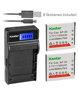 Kastar Battery (X2) & SLIM LCD Charger for Casio NP-60 CNP60 Exilim Zoom EX-Z19 EX-Z19BK EX-Z19GN EX-Z19LP EX-Z19PK EX-Z19SR EX-Z20 EX-Z85VP EX-Z85 EX-Z85BE EX-Z85BK EX-Z85BN Digital Camera