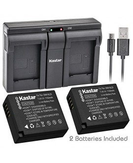 Kastar BLE9 2x Battery + USB Dual Charger for Panasonic DMW-BLE9, DMW-BLE9E, DMW-BLE9PP, DMW-BLG10 work with Panasonic Lumix DMC-GF3, DMC-GF5, DMC-GF6, DMC-GX7, DMC-LX100 Cameras