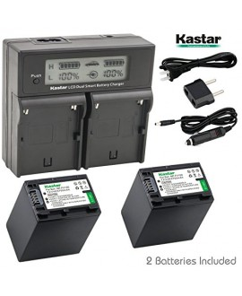 Kastar LCD Dual Smart Fast Charger & 2 x Battery for Sony NP-FV100, NP-FH100, NPFV100, NPFH100, FV100, FH100 and HDR-CX110, CX130/B, CX160/B, XR160, CX360V, CX560V, CX700V, PJ10, HDR-PJ30V, HDR-PJ50V
