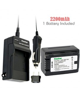 Kastar Battery (1-Pack) and Charger Kit for Panasonic VW-VBK180 work with Panasonic HC-V10, HC-V100, HC-V100M, HC-V500, HC-V500M, HC-V700, HC-V700M, HDC-HS60, HDC-HS80, HDC-SD40, HDC-SD60, HDC-SD80, HDC-SD90, HDC-SDX1H, HDC-TM40, HDC-TM41, HDC-TM55, HDC-T