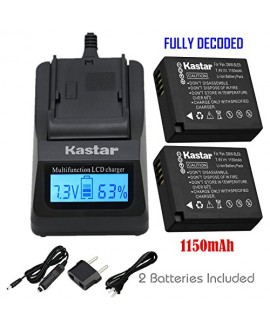Kastar Ultra Fast Charger(3X faster) Kit and Battery (2-Pack) for Panasonic DMW-BLE9, DMW-BLE9E, DMW-BLE9PP, DMW-BLG10 work with Panasonic Lumix DMC-GF3, DMC-GF5, DMC-GF6, DMC-GX7, DMC-LX100 Cameras [Over 3x faster than a normal charger with portable USB
