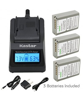 Kastar Ultra Fast Charger(3X faster) Kit and Battery (3-Pack) for Olympus BLN-1, BCN-1, BLN1 and Olympus OM-D E-M1, OM-D E-M5, PEN E-P5 Digital Cameras