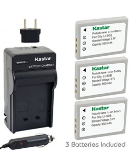 Kastar Battery (3-Pack) and Charger Kit for Olympus Li-80B and Konica Minolta NP-900 work with Olympus T-100,t-110,x-36 and Konica Minolta DiMAGE E40, E50, KYOCERA EZ4033 etc. Cameras