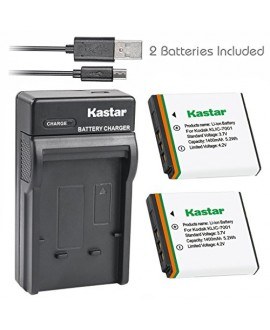 Kastar Battery (X2) & Slim USB Charger for Kodak KLIC-7001 and Kodak EasyShare M320, M340, M341, M753 Zoom, M763, M853 Zoom, M863, M893 IS, M1063, M1073 IS, V550, V570, V610, V705, V750 Cameras