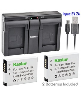 Kastar 2x Battery + USB Dual Charger for Samsung SLB-11A SLB11A and Samsung WB600 WB650 WB700 WB1000 WB2000 CL65 CL80 EX1 HZ25W HZ30W HZ35W HZ50W ST1000 ST5000 ST5500 TL240 TL320 TL350 TL500 Cameras