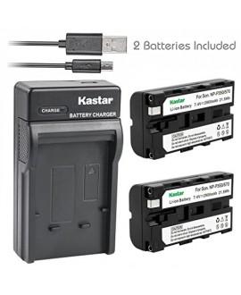 Kastar Battery (X2) & Slim USB Charger for Sony NP-F570 NP-F550 NP-F330 and CCD-RV100 RV200 SC5 SC9 SC55 TR1 TR215 TR516 TR716 TR818 TR910 TR917 TR940 & LED Video Light or Moniter Backup Battery