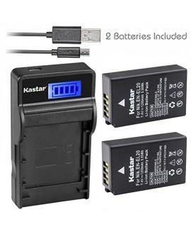 Kastar Battery (X2) & SLIM LCD Charger for Nikon EN-EL20, ENEL20, EN-EL20a and Nikon Coolpix A, Nikon 1 AW1, 1 J1, 1 J2, 1 J3, 1 S1, 1 V3, and Blackmagic Pocket Cinema Cameras