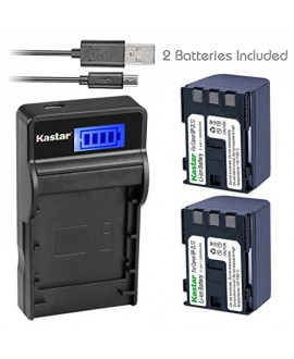 Kastar Battery X2 + SLIM LCD Charger for Canon BP-2L12 BP-2L14 BP-2L15 BP-2L24H BP-2L5 NB-2L12 NB-2L14 and DC310 DC330 Elura 60 Vixia HG10 Vixia HV20 Vixia HV30 ZR100 ZR200 ZR300 ZR500 ZR600 ZR800