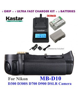 Kastar Pro Multi-Power Vertical Battery Grip (Replacement for MB-D10) + 2x EN-EL3e Replacement Batteries + Ultra Fast Charger Kit for Nikon D300 D300S D700 D900 Digital SLR Camera