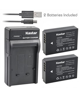Kastar Battery (X2) & Slim USB Charger for Canon LP-E12 and Canon EOS 100D, EOS Rebel SL1, EOS M Camera System & Canon LPE12 Grip