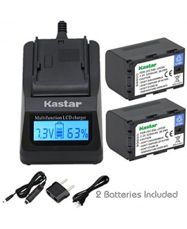 Kastar Ultra Fast Charger(3X faster) Kit and Battery (2-Pack) for JVC SSL-JVC50 and JVC GY-HMQ10, GY-LS300, GY-HM200, GY-HM600, GY-HM600E, GY-HM600EC, GY-HM650 Camcorders