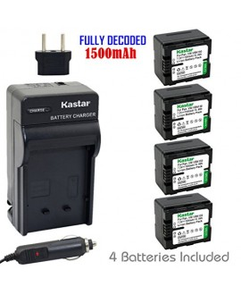 Kastar Battery (4-Pack) and Charger Kit for Panasonic VW-VBN130 work with Panasonic HC-X800 HC-X900 HC-X900M HC-X910 HC-X920 HC-X920M HDC-HS900 HDC-SD800 HDC-SD900 HDC-TM900 Cameras