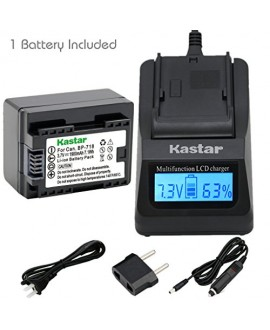 Kastar Fast Charger and Battery BP-718 (1X) for Canon BP-718 BP-727BP-709 CG-700 and VIXIA HF M50 HF M52 HF M500 HF R30 HF R32 HF R40 HF R42 HF R50 HF R52 HF R60 HF R62 HF R300 HF R400 HF R500 HF R600