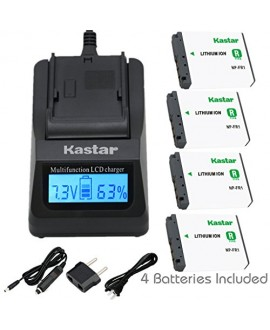 Kastar Fast Charger + Battery (4-Pack) for Sony NP-FR1, BC-TR1, TRN and Sony Cyber-Shot DSC-F88, DSC-G1, DSC-P100, DSC-P100/LJ, DSC-P100/R, DSC-P120, DSCP150, DSC-P200, DSC-T30, DSC-T50, DSC-V3 Camera