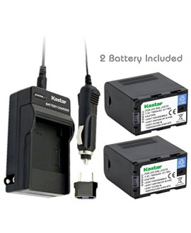 Kastar Battery (2-Pack) and Charger Kit for JVC SSL-JVC70 and JVC GY-HMQ10, GY-LS300, GY-HM200, GY-HM600, GY-HM600E, GY-HM600EC, GY-HM650 Camcorders