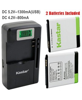 Kastar BL-53QH Battery (2-Pack) and intelligent mini travel Charger ( with high speed portable USB charge function) for LG P870 MS870 P769 / LG MS769 P880 VS930 / LG Escape P870 / LG Spirit 4G MS870 / LG Optimus L9 Optimus 4G P769 / LG Optimus L9 Optimus