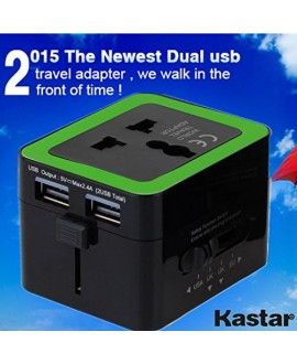 Kastar Safety Universal World-Wide Travel Adapter 2.1A with Dual USB Charger All-in-one AC Power Plug For AUS USA EU UK, 2015 the Newest Dual USB Trave Adapter (Black Color with Yellow)