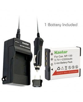 Kastar CNP130 Battery (1X) + Charger for Casio NP-130 & Exilim EX-10, EX-100, EX-H30, EX-ZR100, EX-ZR200, EX-ZR300, EX-ZR400, EX-ZR500, EX-ZR700, EX-ZR800, EX-ZR850, EX-ZR1000, EX-ZR1200, EX-ZS1500