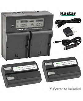 Kastar LCD Dual Fast Charger & 2 x Battery for Nikon ENEL1, Minota NP-800 and Nikon Cooipix 4300 4500 4800 5400 5700 775 8700 880 885 995 Coolpix E880 and Konica Minota DG-5W Dimage A200 Cameras