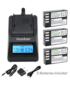 Kastar Ultra Fast Charger(3X faster) Kit and D-Li109 Battery (3-Pack) for Pentax D-Li109, DLI109 work with Pentax K-R, K-30, K-50, K-500, KR, K30, K50, K500 Cameras