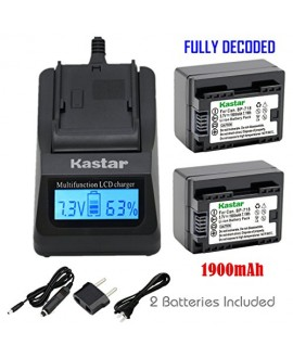 Kastar Ultra Fast Charger(3X faster) Kit and Battery BP-718F (FULYL DECODED) (2-Pack) for Canon BP-727, BP-718, BP-709, CG-700 and Canon VIXIA HF M50, HF M52, HF M500, HF R30, HF R32, HF R40, HF R42, HF R50, HF R52, HF R60, HF R62, HF R300, HF R400, HF R5
