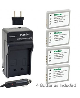 Kastar Battery (4-Pack) and Charger Kit for Olympus Li-80B and Konica Minolta NP-900 work with Olympus T-100,t-110,x-36 and Konica Minolta DiMAGE E40, E50, KYOCERA EZ4033 etc. Cameras