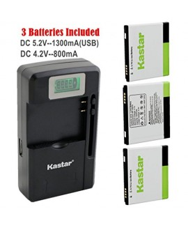 Kastar FL-53HN Battery (3-Pack) and intelligent mini travel Charger ( with high speed portable USB charge function) for LG Thrill 4G P925 / LG Optimus 3D P920 / LG G2x P999 P990 / LG Optimus 2x P990 / LG DoublePlay C729, Fit FL-53HN / FL53HN --Supper Fast
