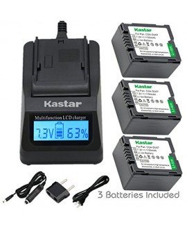 Kastar Fast Charger and Battery (3-Pack) for Panasonic CGA-DU06 CGA-DU07 CGA-DU14 CGA-DU21 VW-VBD070 VBD140 VBD210 and PV-GS31 PV-GS33PV-GS34 PV-GS35 PV-GS39 PV-GS400 PV-GS500 PV-GS50 PV-GS50S PV-GS55
