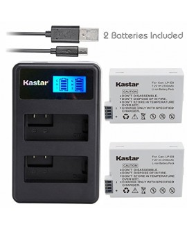 Kastar Battery (X2) & LCD Dual Slim Charger for Canon LP-E8, LC-E8E and Canon EOS 550D, EOS 600D, EOS 700D, EOS Rebel T2i, EOS Rebel T3i, EOS Rebel T4i, EOS Rebel T5i Cameras, Grip BG-E8