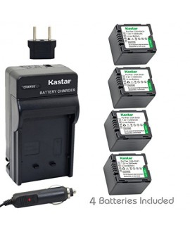 Kastar CGA-DU21 Battery (4-Pack) and Charger Kit for Panasonic CGA-DU06, CGA-DU07, CGA-DU14, CGA-DU21, VW-VBD070 VBD140 VBD210 work with Panasonic NV-GS330, GS400, GS408, GS500, GS508, MX500, PV-GS90, GS120, GS150, GS180, GS320, GS400, GS500, SDR-H48, H68